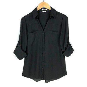 Express | Slim Fit Portofino Button Down Shirt in Black
